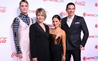 Mackenzie Davis, Linda Hamilton, Natalia Reyes and Gabriel Luna at CinemaCon