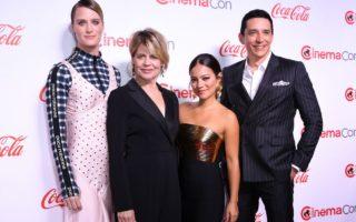 Mackenzie Davis, Linda Hamilton, Natalia Reyes and Gabriel Luna at CinemaCon